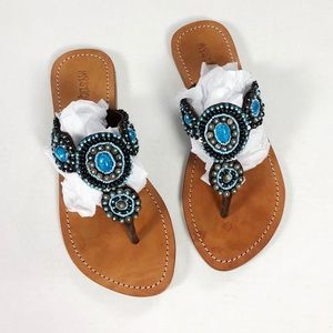 Mystique Blue Stone beaded Sandals